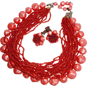 Coral Multi-strand Glass Seed Beads and Marbled Plastic Necklace, Earring Set