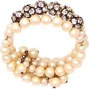 Faux Pearl Memory Wire Wrap Bracelet with Prong Set Rhinestone Beads