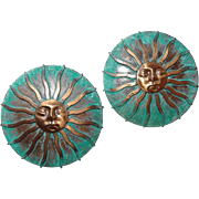 Huge Bronze Sun Post Earrings with Moon Face