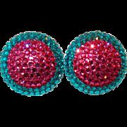 Huge Earrings with Turquoise, Fuchsia Flat Back Rhinestones