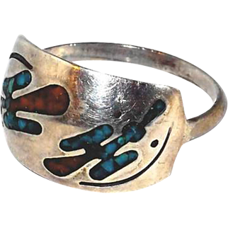 Thunderbird Ring Southwestern Sterling Coral Turquoise Birds