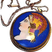 Georgian Portrait Pendant: Hand Painted on Porcelain Blue Cameo with Gold Griffin