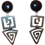 Abstract Sterling Onyx Dangle Post Earrings from Mexico
