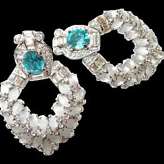 New York Designer Doorknocker Earrings by Weinberg, NY Molded Frosted Glass Leaves