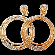 Large Triple Hoop Rhinestone Earrings