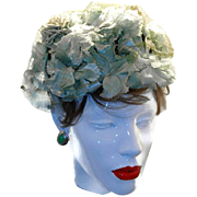 Green Floral Millinery Pillbox Style Hat