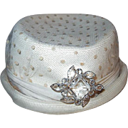 Designer Polka Dot Netting Hat with Crystal Accent Brooch Marked KC
