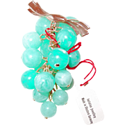Early Plastic Turquoise Grape Cluster Pin with Original Tag