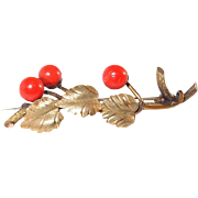 Sterling Gilt Victorian Coral Berries on the Vine Pin
