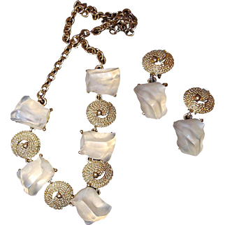 Clear Lucite Chunk Ice Cube Necklace Drop Earring Set