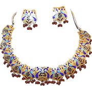 Sterling Enamel and Natural Ruby Peacock Mogul Necklace and Earring Set from India