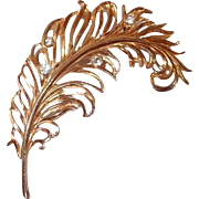 Large Quill Feather Brooch with Rhinestone Accents