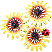 Marked Enamel Flower with Lady Bug Pin