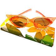 Cats Eye Sunglasses with 1960s Flower Power Case