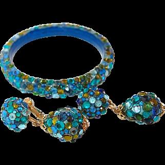 Vendome Blue to Green Flatback Stone Bangle and  Drop Earring Set