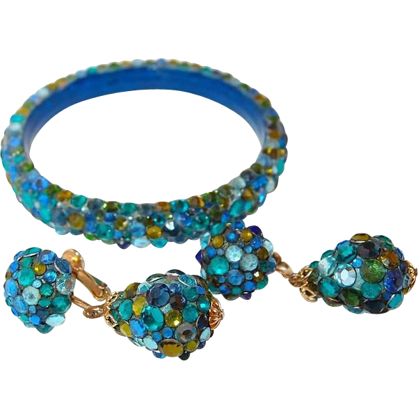 Vendome Blue to Green Flatback Stone Bangle and  Drop Earring Set