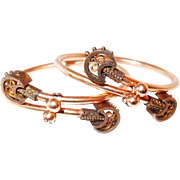 Gold Victorian Crossover Bracelet Set in Etruscan Style