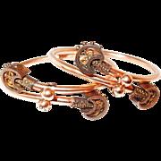 10kt Gold Victorian Crossover Bracelet Set in Etruscan Style