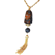Diane Love for Trifari Asian Inspired Carved Pendant Necklace