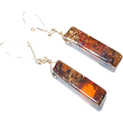 Squared Oblong Amber Earrings on Gold Plate Kidney Wire Hooks