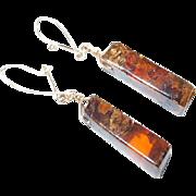 Squared Oblong Amber Earrings on Gold Plate Kidney Wire Hooks
