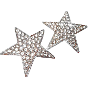 Vintage Kenneth Lane Paved Rhinestone Star Clip Earrings