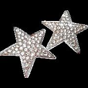 Vintage Kenneth Lane Paved Rhinestone Star Clip Earrings
