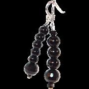 Black Onyx Stone Bead Drop Hook Earrings