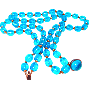 Translucent Turquoise Aurora Borealis Coated 2 Strand Beaded Necklace