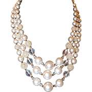 Beaded Pearl Crystal and Sugar Coated 3 Strand Plastic Necklace