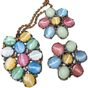 Pastel Glass Cats-Eye Moonstone Pot Metal Pendant Necklace Dress Clip Set