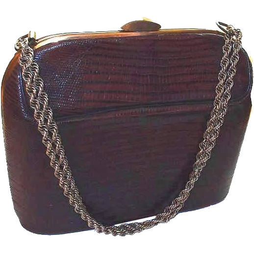 Bass Reptile Lizard Skin Handbag with Chain Handle