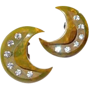 Carved Marble Bakelite Crescent Moon Earrings with Rhinestones