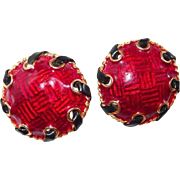 Large Yosca Red Enamel Earrings with Faux Leather Wrap Accent