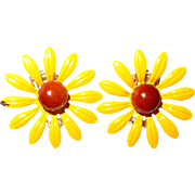 Yellow Enamel Black-Eyed-Susan Flower Earrings