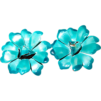 Enamel Teal and Turquoise Flower Earrings from the 1960s