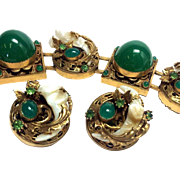 Haute Couture Green Glass Cabochon Bracelet and Earring Set