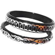 Vintage Black Plastic Bangles with Silver Overlay Set