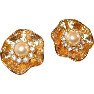 Wavy Goldtone Button Clip Earrings with Rhinestone and Simulated Pearl Center