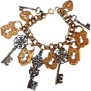 Embossed Key and Lock Charm Bracelet in Two-tone