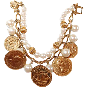 Double Strand Charm Bracelet with Faux Coins and Pearls