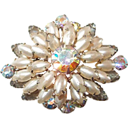 Tiered Pearled Brooch with Coral Blue Aurora Borealis Stones