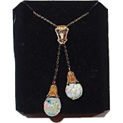 Antique Solid 14K Gold Double Floating Opal Necklace