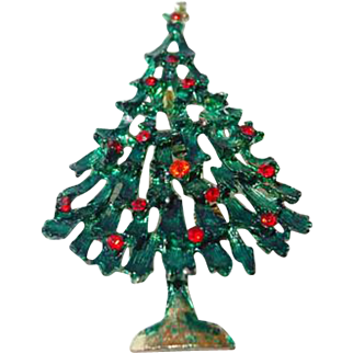 Green Enamel Christmas Tree Pin with Red Stones