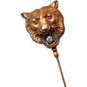 Victorian/Edwardian Double Sided Lion Stick Pin with Paste Mouth and Ruby Red Eyes