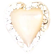 Hand Carved Heart Mother of Pearl Pin