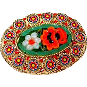 Italian Glass Mosaic Flower Pin in Green/Red/Orange