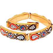 Vintage Italian Mosaic Link Bracelet in Orange, Black and Blue