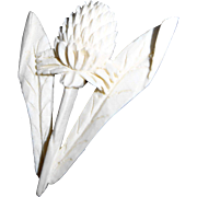Antique Carved Bone Thistle Pin in Bloom with Curled Leaf