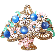 Large Pink and Blue Flower Basket Brooch with Cabochons and Enameling